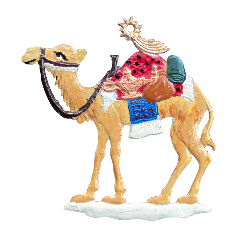 5,5 x 5,5 cm Zinngeschenke Kamel aus Zinn von Hand bemalt HxB Christbaumschmuck