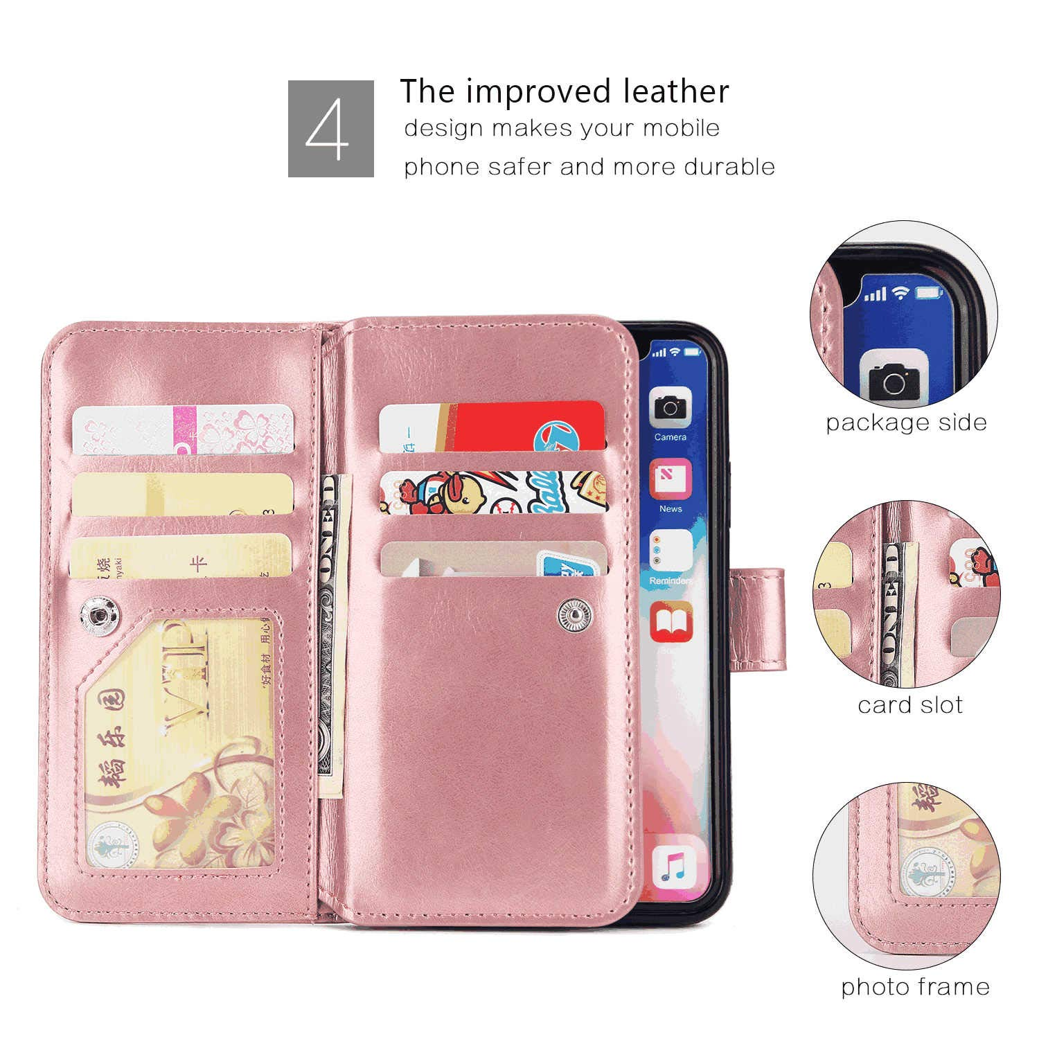 Pink WaiterQA iPhone Xs Flip Case Leather Cover Extra-Shockproof Business Wallet Cover Sling Button Closure 9 Card Slot