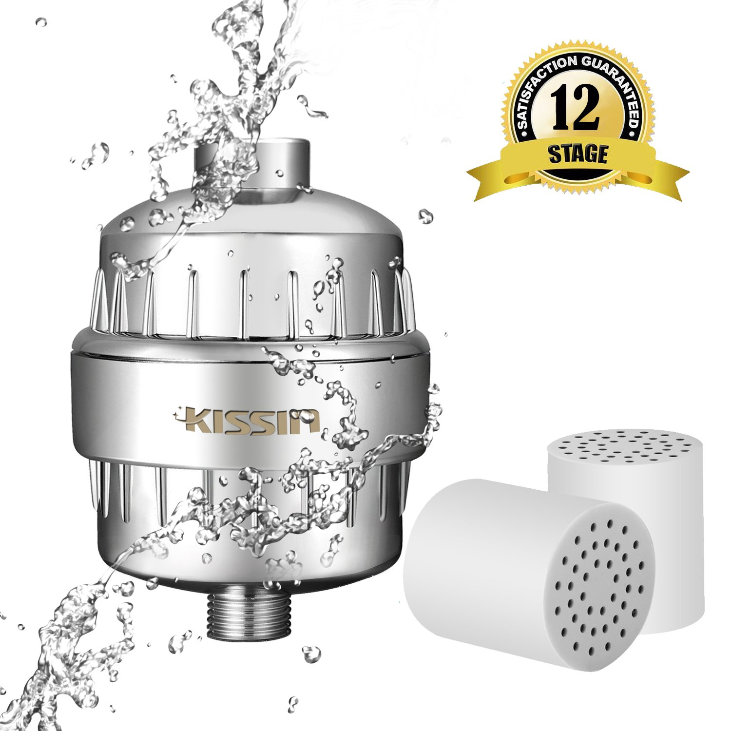 Shower Filter 12-Stage Shower Water Filter Removes Heavy Metals Replaceable Filter Cartridge Hand Held Shower Filter