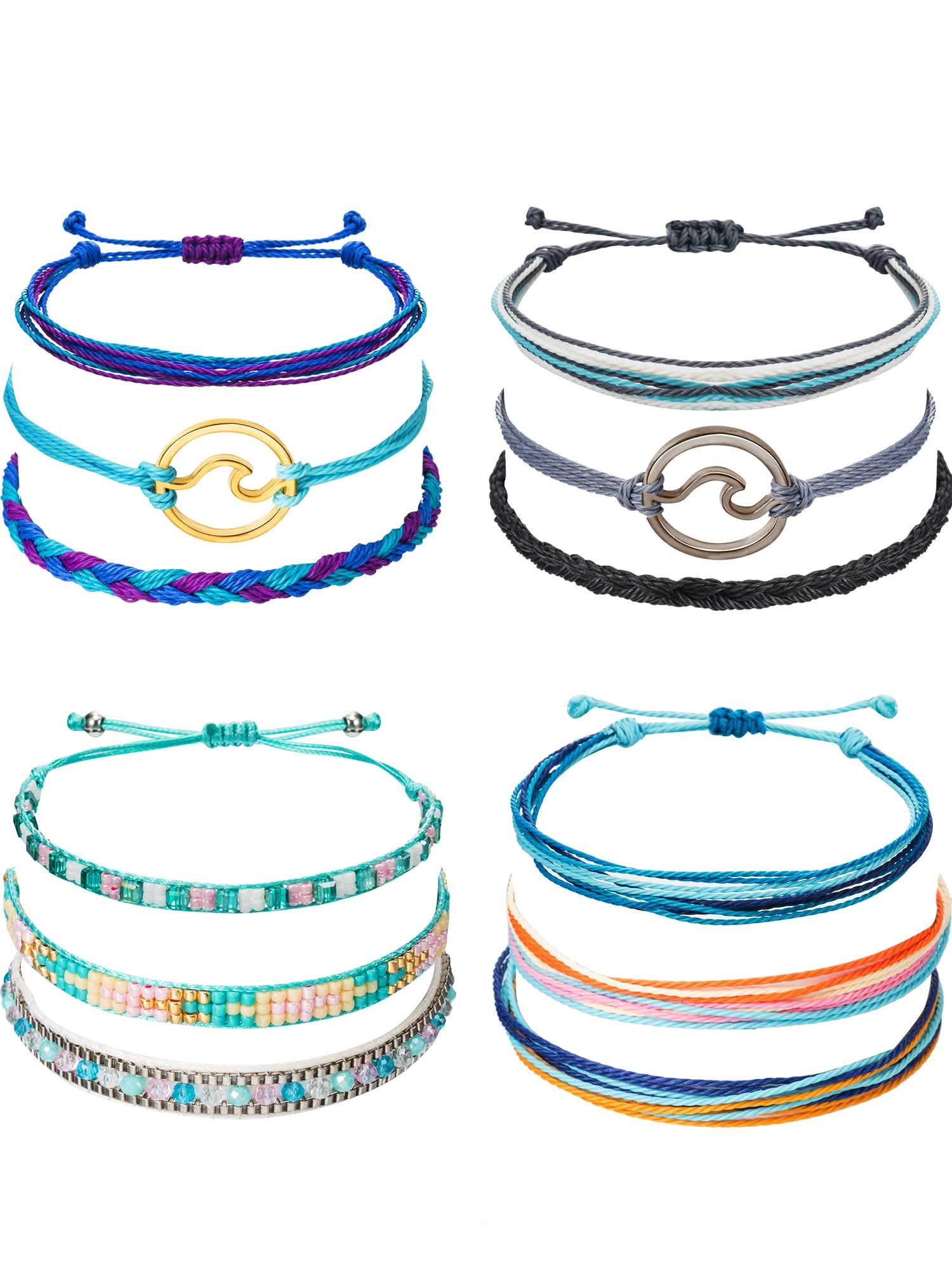 Chuangdi 12 Pieces Wave Strand Bracelet Set Handmade Adjustable Friendship Bracelet Handcrafted Jewelry Women (Style 2) by Chuangdi