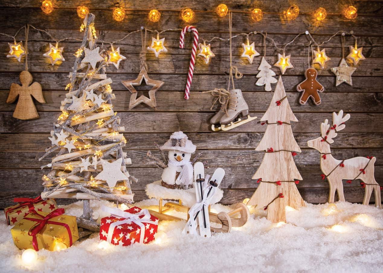 LYWYGG 7x5FT Fondos Navidad Christmas Theme Telones de Fondo Madera Navidad Ciervo Estrellas Brillantes Árbol de Navidad Vacaciones para Niños Fotografía Fondo Fondo Fotografia Madera CP-100: Amazon.es: Electrónica