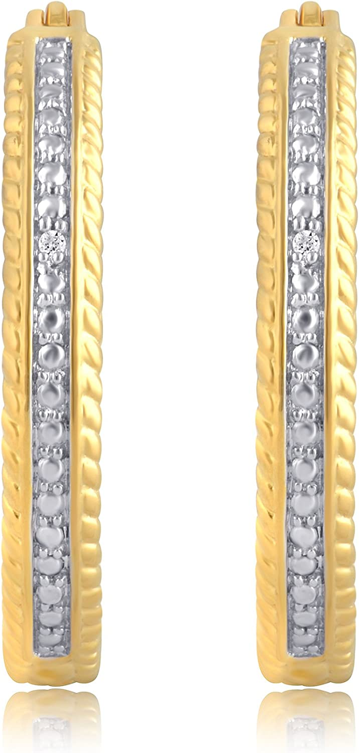Diamond Accent Single Row hoop Earring