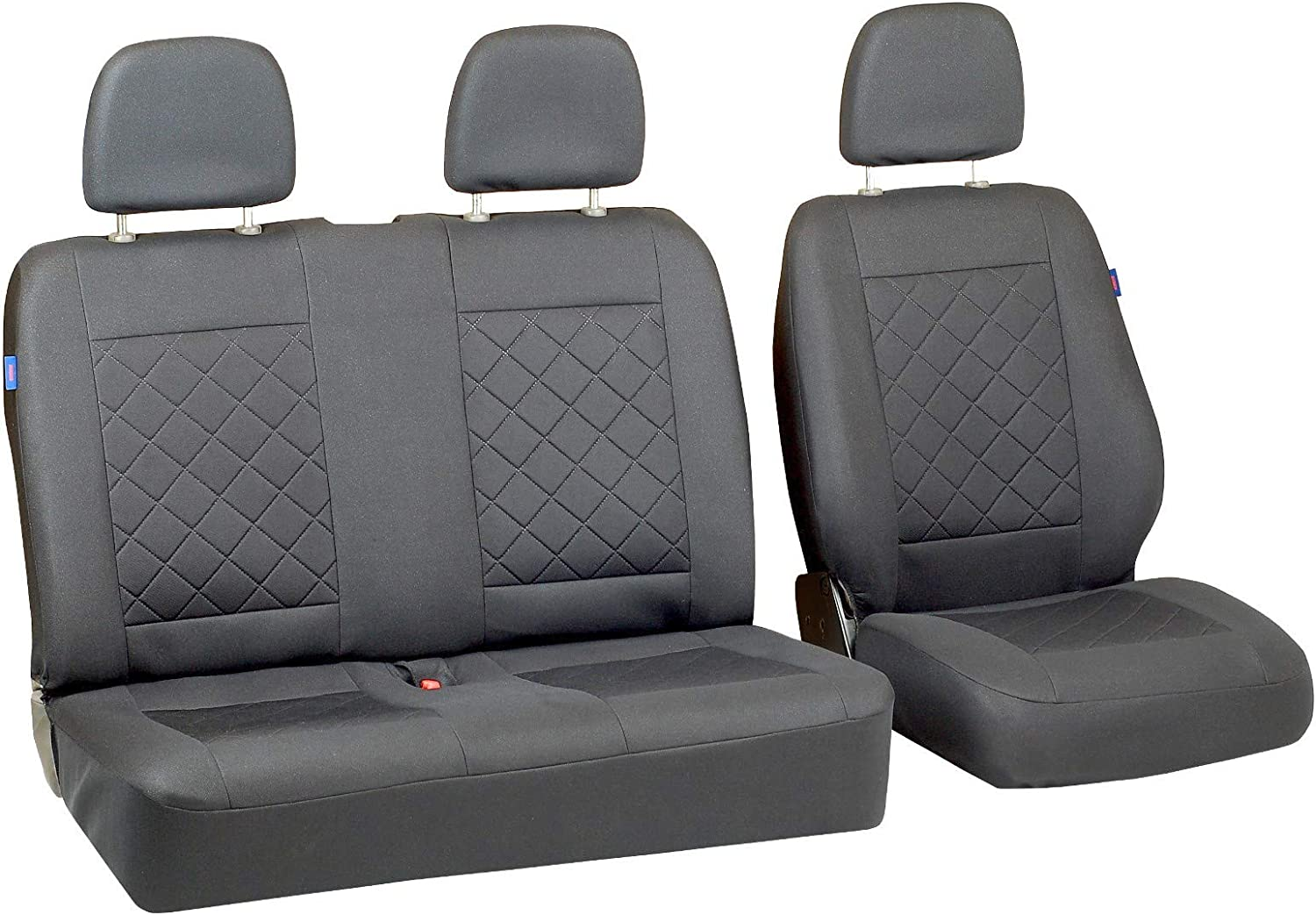 Zakschneider Car seat covers for VOLKSWAGEN T4 Set 1+2 Color Premium Grey Quilted Squares