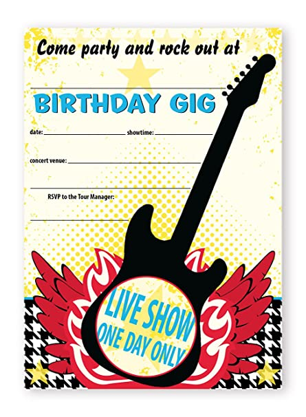 Amazon Com Pop Parties Rock Star Party Large Invitations 10