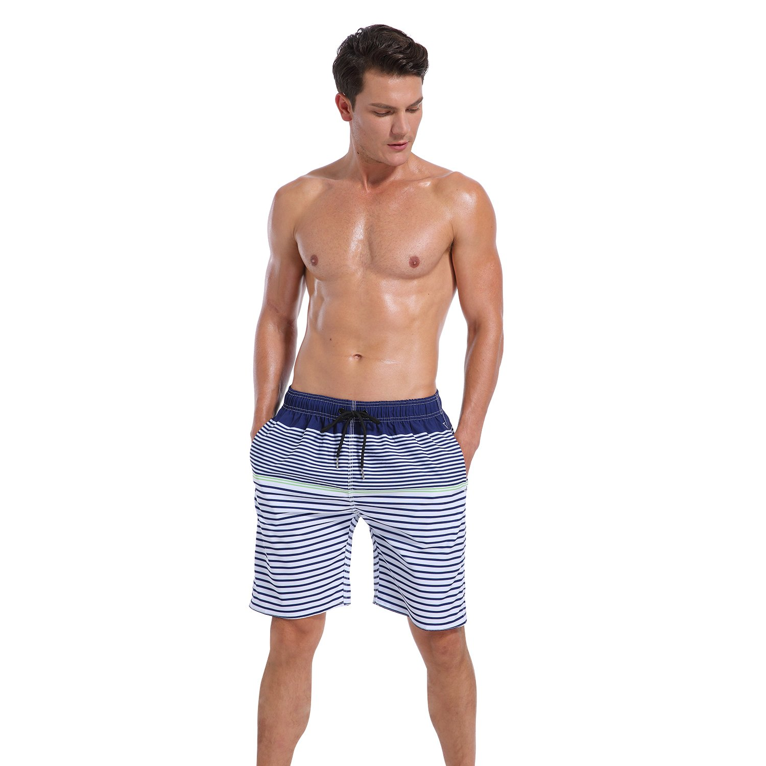 5f0550df85 Men QRANSS Mens Quick Dry Swim Trunks Bathing Suit Striped Shorts with  Pockets