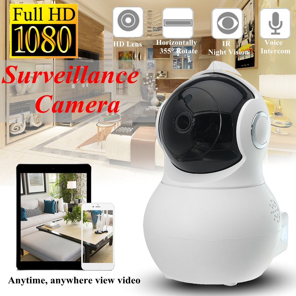 360 Panoramic Bulb WiFi Camera - 1080P Dome Security Surveillance Cameras 180 Degree Rotate Wireless Cam Night Vision Motion Detection Pet Baby Monitor Webcam for Outdoor Indoor (01 Light Bulb Camera) PalmTalkHome
