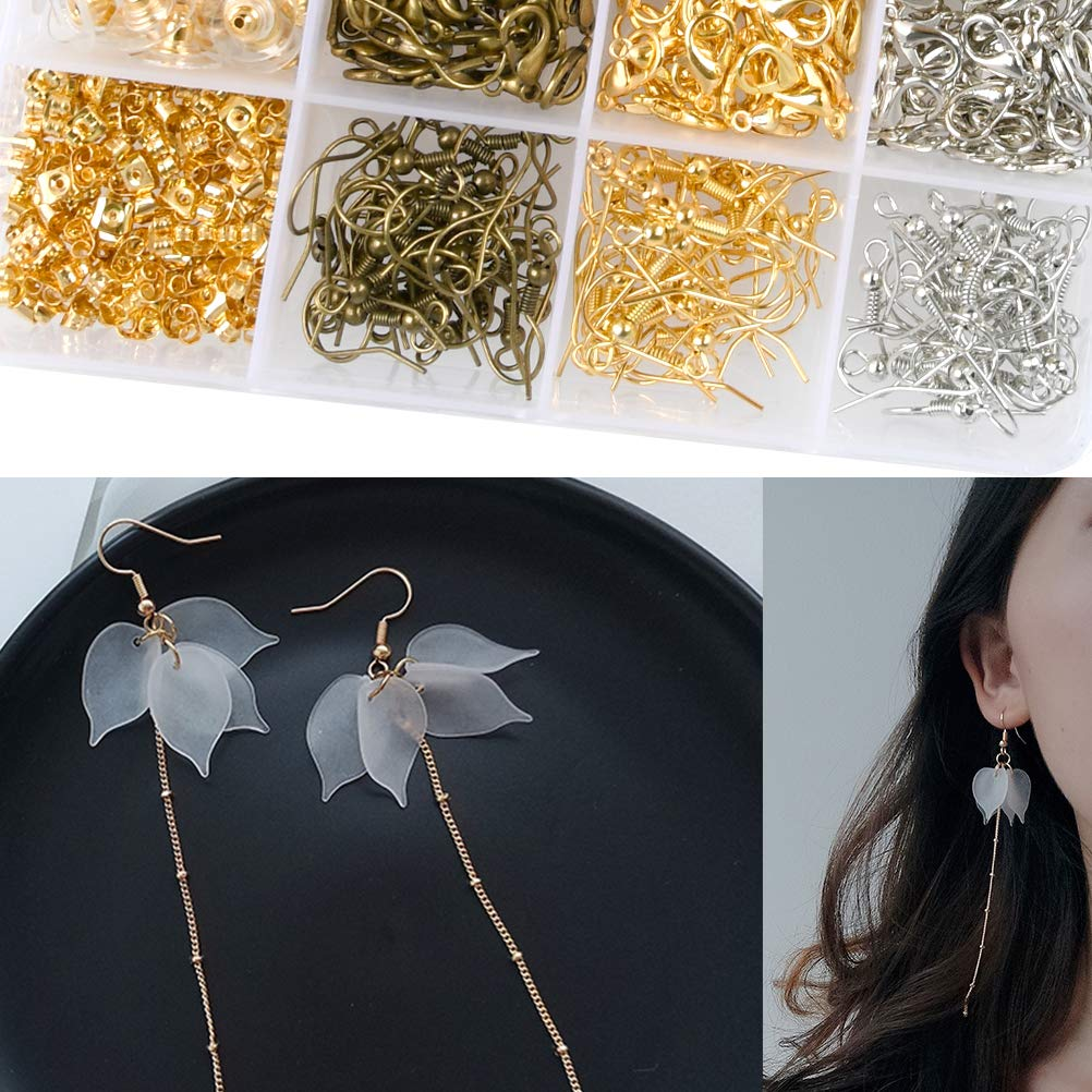 Screw Eye Pins Crimp Beads Earing Hooks and Earing Backs for DIY Handmade Jewellery Making Head Pins Lobster Clasps TIMESETL 3000 Pcs Jewelry Making Findings Supplies Kit with Open Jump Rings