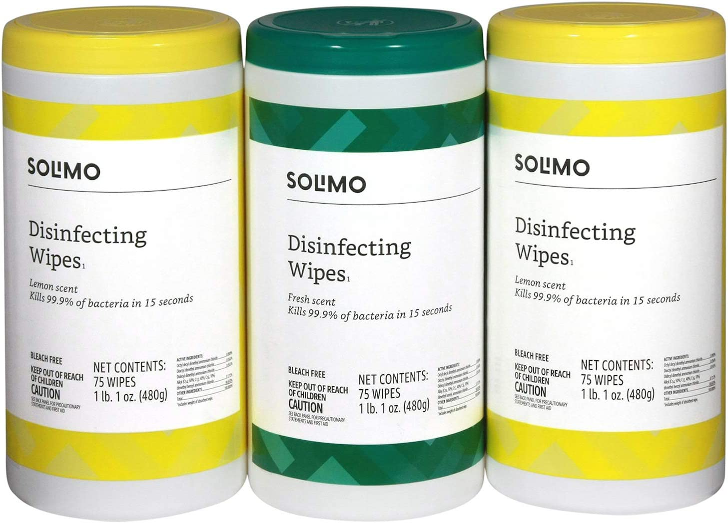 Amazon Brand - Solimo Disinfecting Wipes, Lemon Scent & Fresh Scent, 75 Wipes Each (Pack of 3)