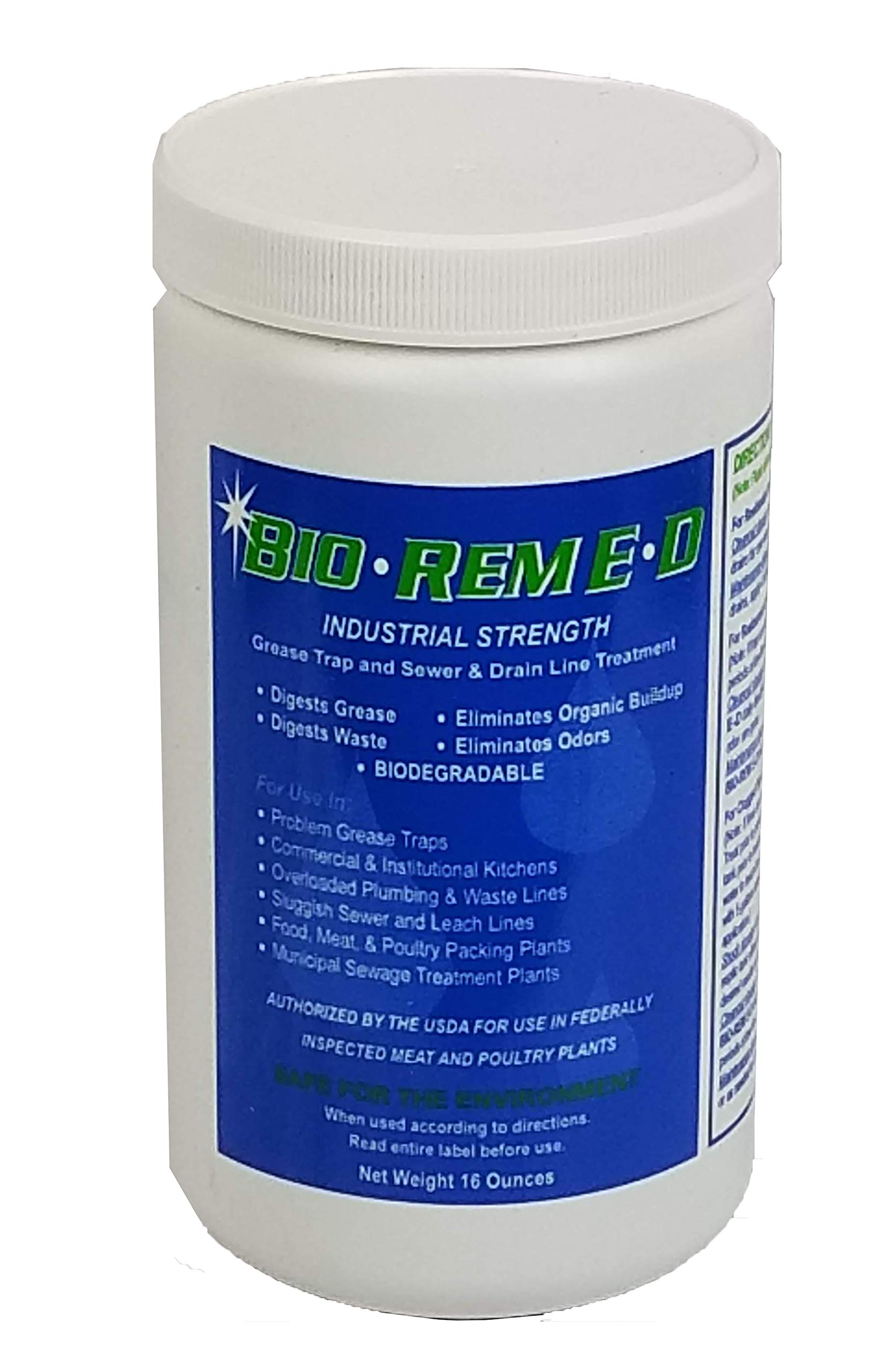 BIO-REM E-D Grease Trap and Drain Line Treatment/ 12 one pound jars/case