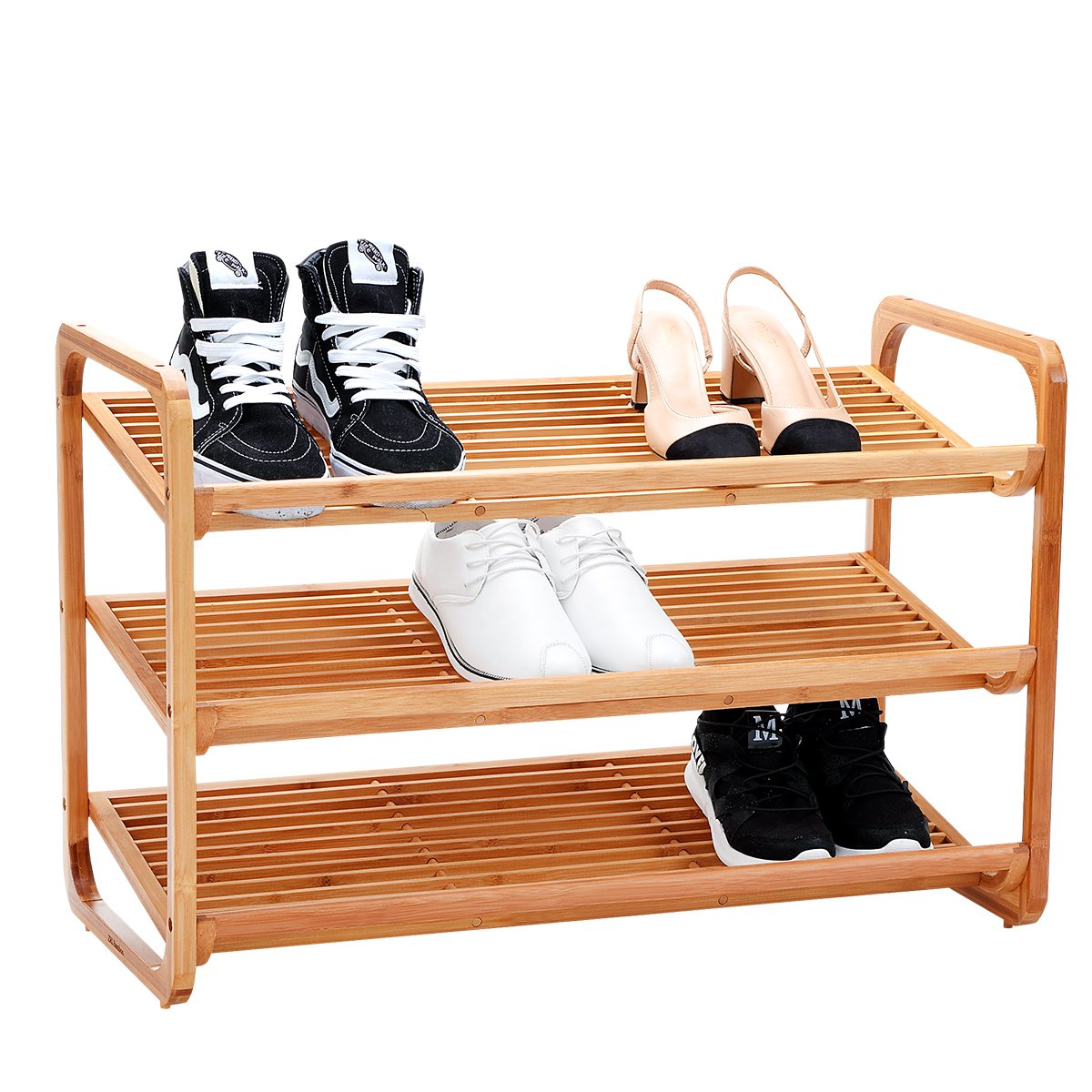 New Ridge Home Goods HX-710382 Natural Bamboo Shoe Boot Organizing Rack, Entryway Seat with Storage Shelf, Hallway Furniture Bench, by New Ridge Home Goods