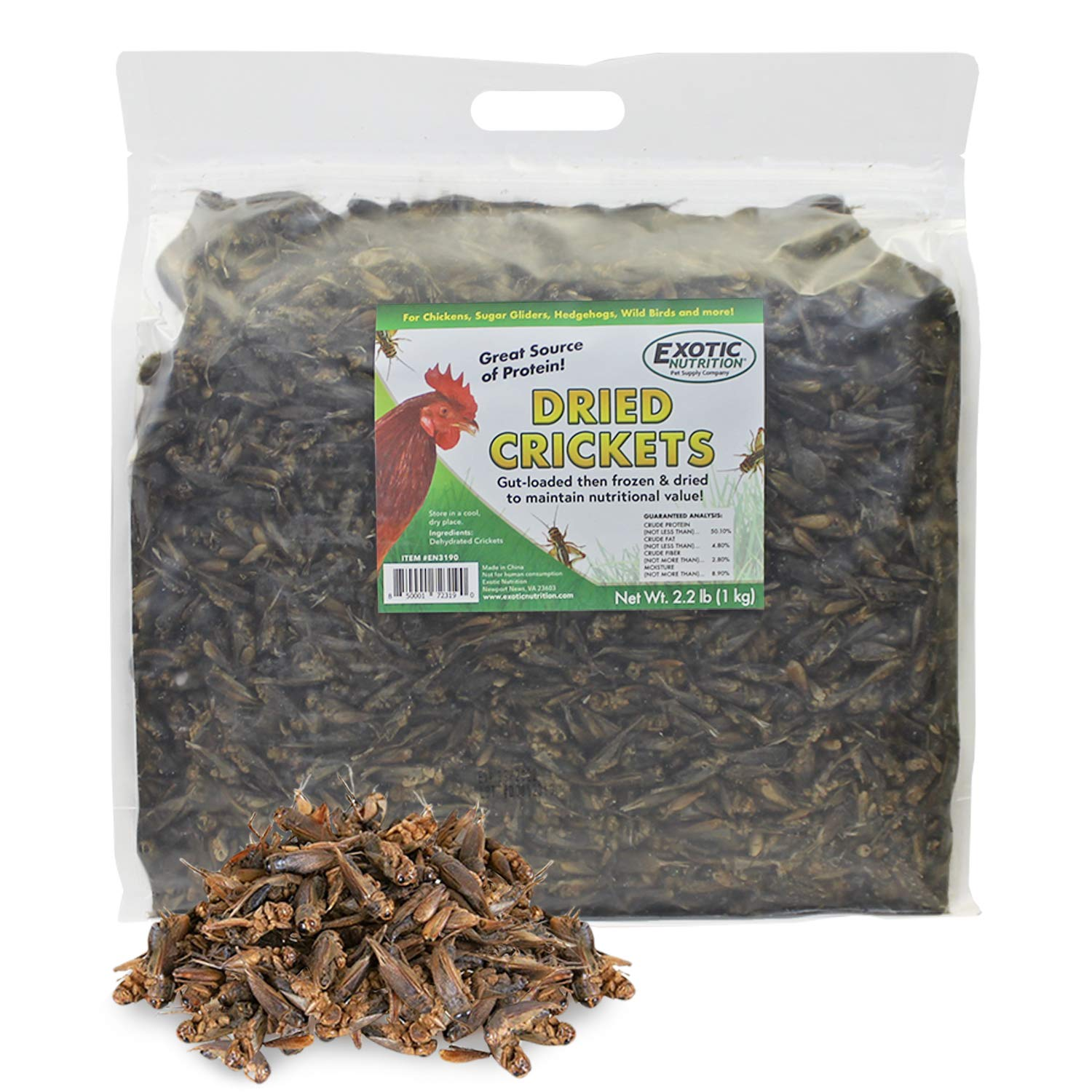 Dried Crickets (2.2 lb.) - High Protein Insect Treat - Chickens, Wild Birds, Hedgehogs, Bluebirds, Reptiles, Sugar Gliders, Opossums, Skunks, Lizards, Bearded Dragons, Fish, Amphibians, Turtles by Exotic Nutrition