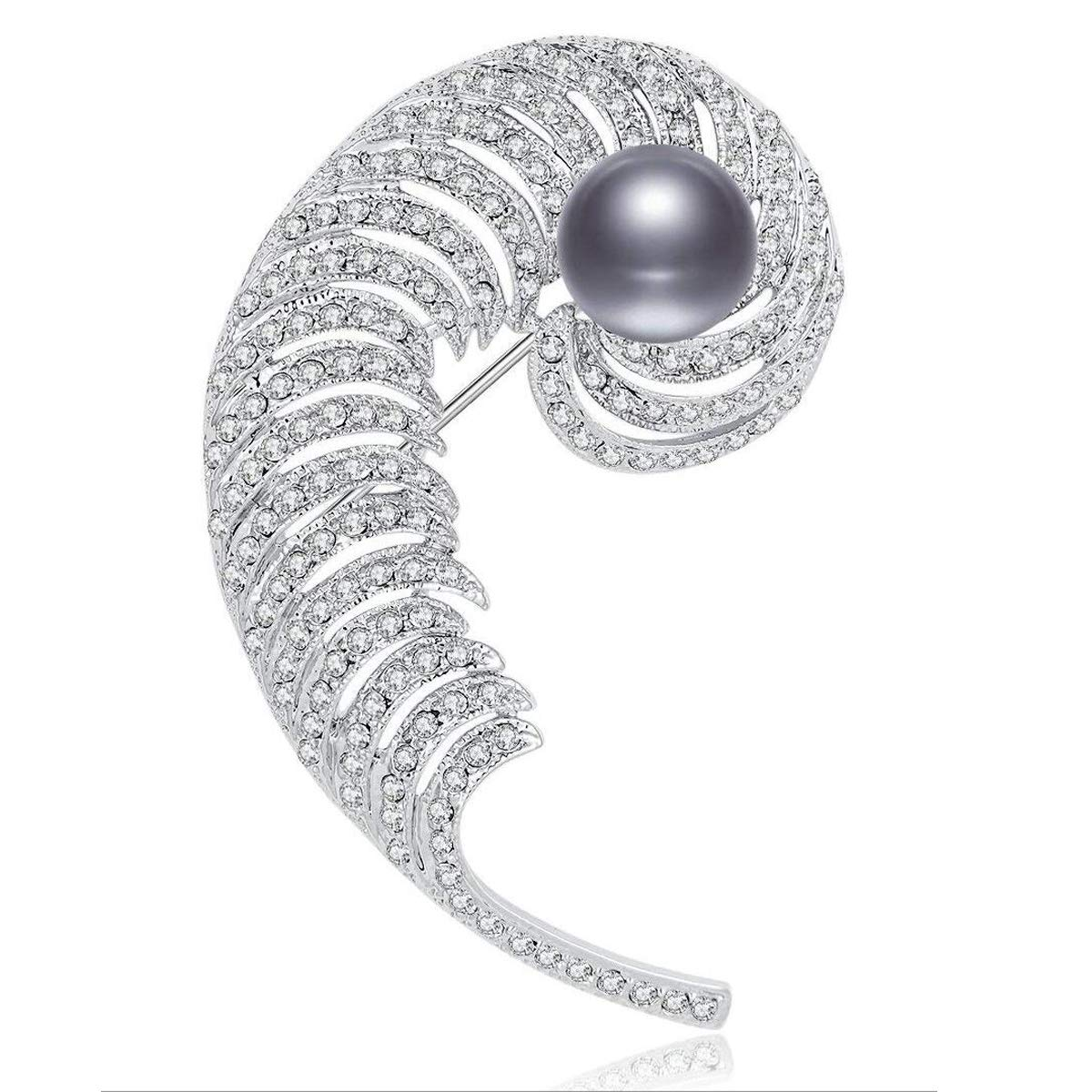 24e8dd197 Amazon.com: RAINBOW BOX Brooches for Women Fashion Feather Zircon Black  Pearl Jewelry Brooch Pins, for Her: Jewelry