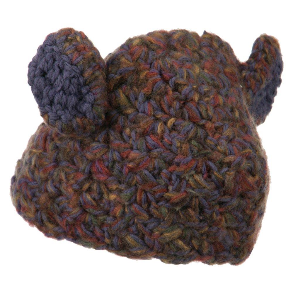 Girls Acrylic Mix Yarn Rabbit Ears Hat Purple