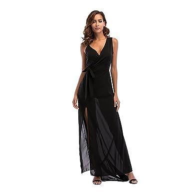 1be0c41a6b2 Dooping Womens Chiffon Spaghetti Strap Deep V Neck High Slit Maxi Beach  Dress (Black