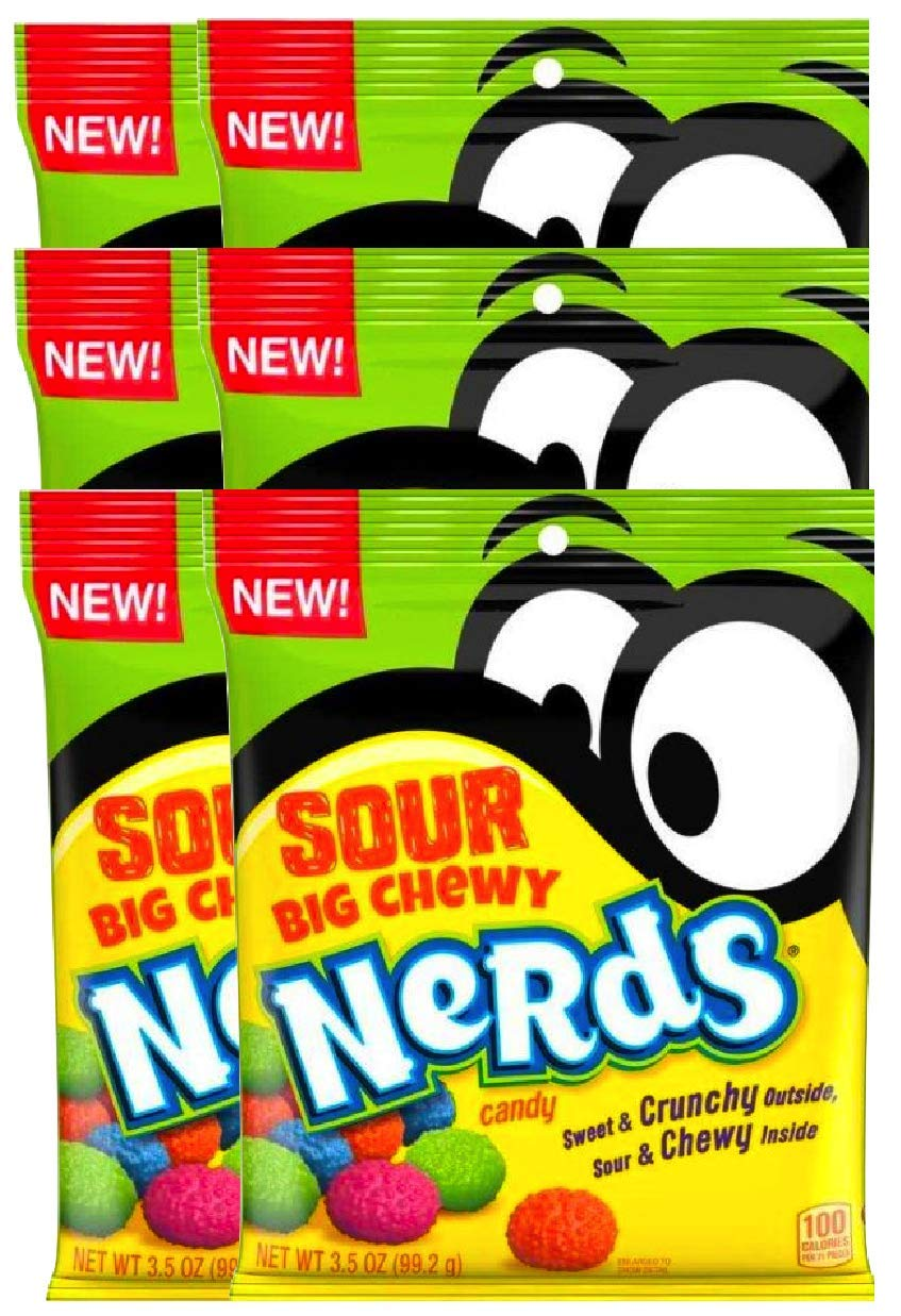 NEW Nerds Sour Big Chewy Perfect Snack For Packed Lunches Sweet & Crunchy Outside, Sour & Chewy Inside Net Wt 3.5Oz (6)