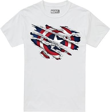 Marvel Captain America Torn Camiseta para Niños: Amazon.es: Ropa y accesorios