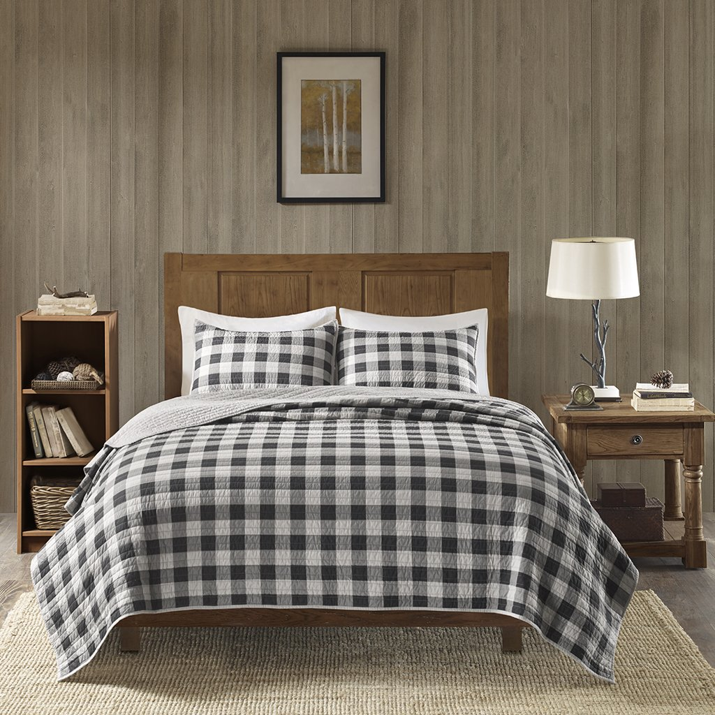 Woolrich Check Full/Queen Size Quilt Bedding Set - Red, Check – 3 Piece Bedding Quilt Coverlets – Cotton Bed Quilts Quilted Coverlet E&E Co. Ltd WR14-1783