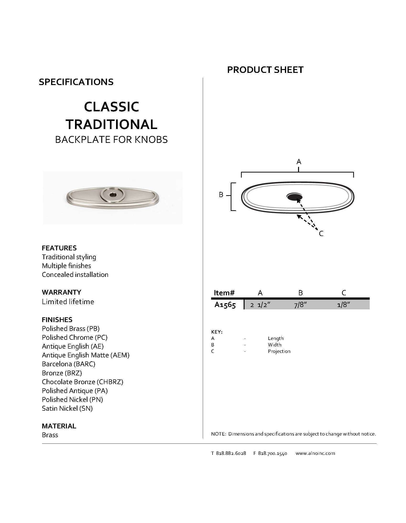 Alno A1565-SN Classic Traditional Backplates, 2-1/2'', Satin Nickel