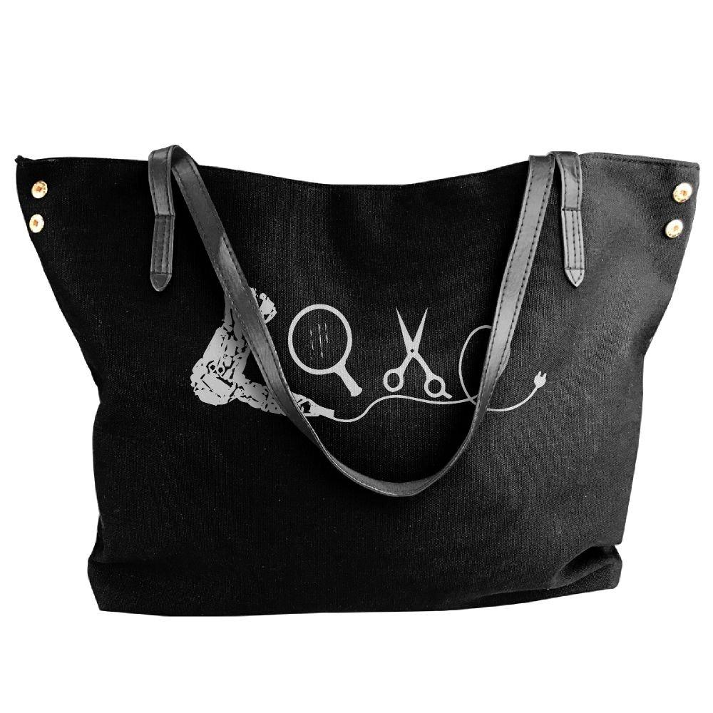 Women's Canvas Large Tote Shoulder Handbag LOVE Hairdresser Large Capacity Bags