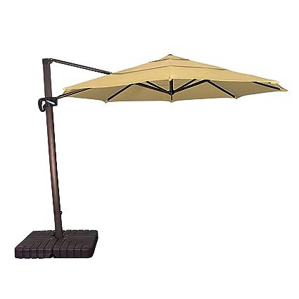 California Umbrella 11u0027 Round Aluminum Cantilever Umbrella, Crank Lift,  Slide Tilt, 360
