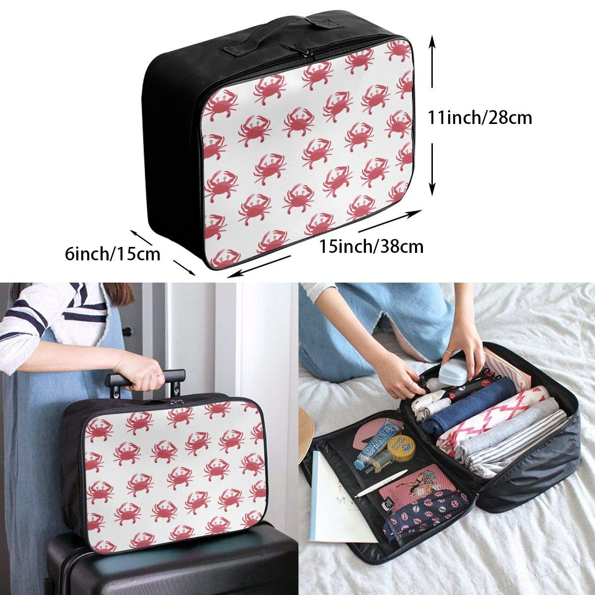 Cute Cartoon Crabs Travel Duffel Bag Casual Large Capacity Portable Luggage Bag Suitcase Storage Bag Luggage Packing Tote Bag Weekend Trip