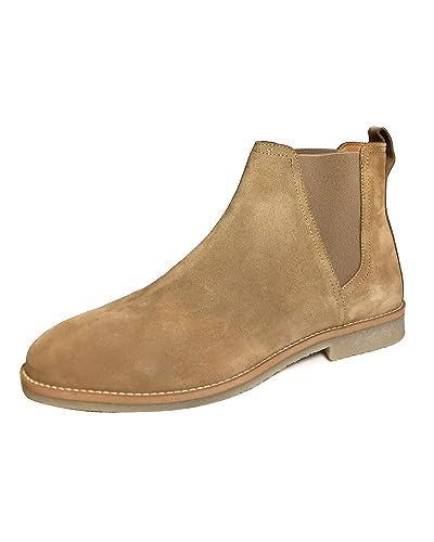 chaussures de sport 84d88 8db44 Amazon.com: Zara Men Beige Leather Sporty Ankle Boots 5051 ...