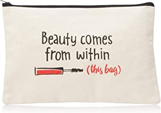 product image for Imagine Design Relatively Funny Beauty Comes from Within Canvas Bag, Red/Black/White