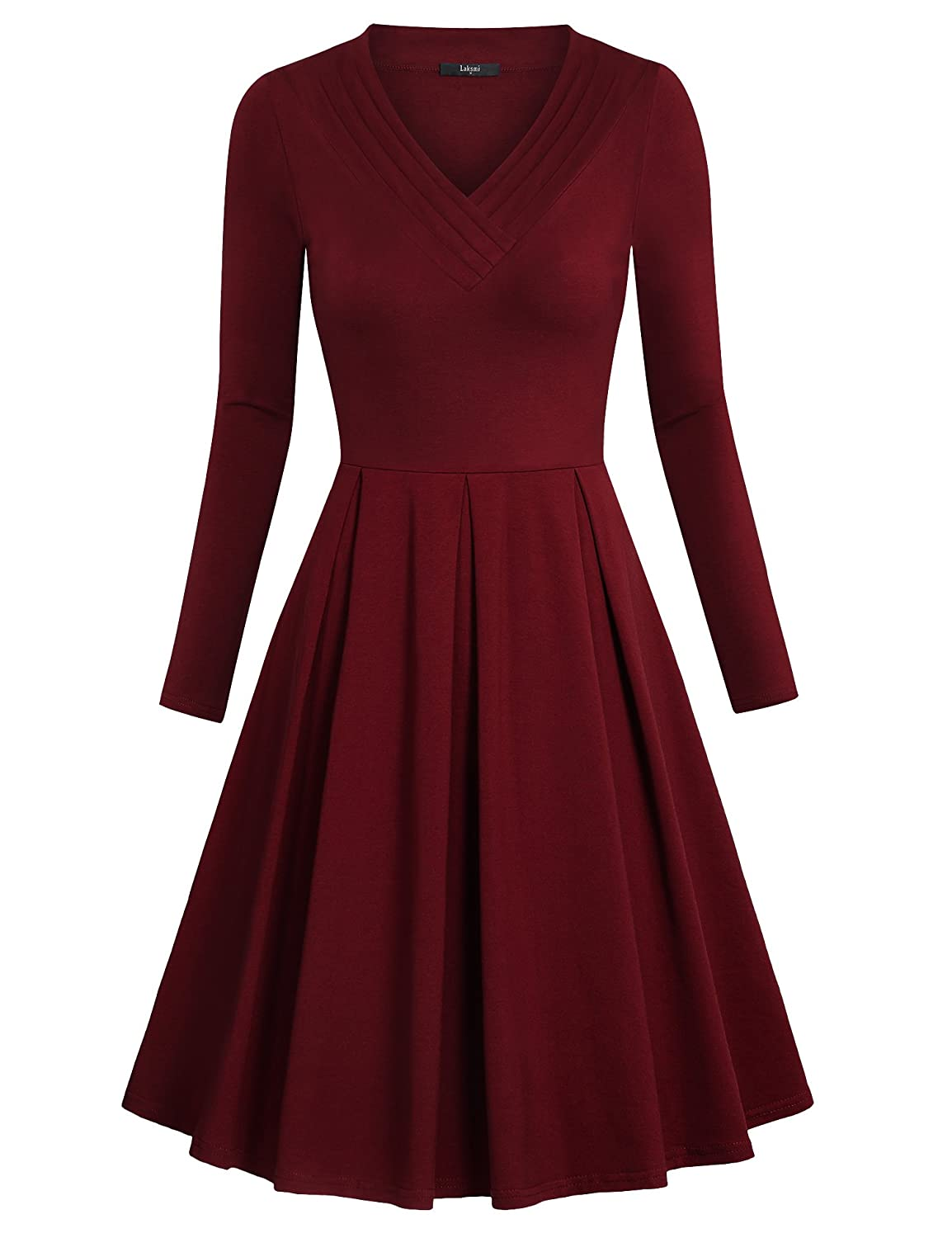 4b6ed20200c6 Long Sleeve/Knee Length/Empire Waist/Pleated V Neck/Solid Color/Slim  Fit/Fit and Flare Dress/Pleated Casual Dress/Fall Dress for Women