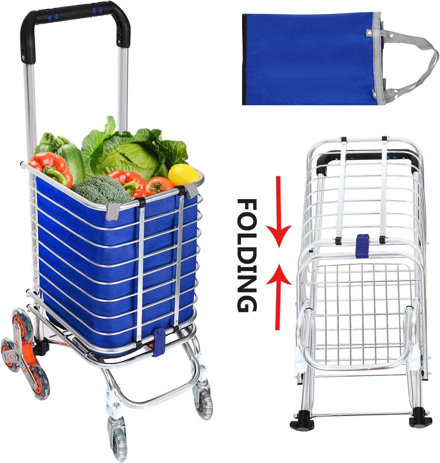 Folding Grocery Shopping Cart, Aluminum Double Handle Climbing Grocery Utility Cart with Removable Waterproof Oxford Cloth Bag and 8 Rolling Wheel for Stairs 37 Handle Length
