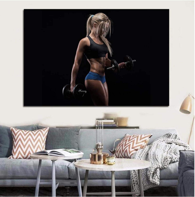 Chica rubia fitness cool Cola de caballo Levantamiento de pesas Mujer decoración de la sala de estar decoración del arte de la pared del hogar carteles -60x90cmx1pcs- Sin marco