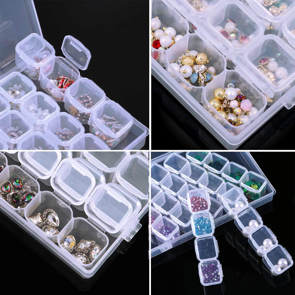 herramientas contenedor Caja organizadora de pl/ástico con 28 rejillas extra/íbles para joyer/ía pendientes transparente