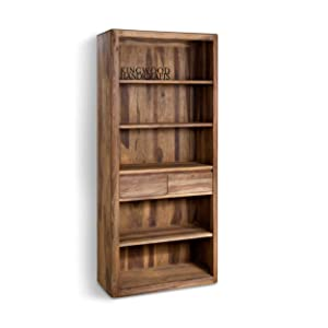 Kingwood Two Drawer Large Bookcase in Solid Sheesham Wood with Honey Finish - Size 33 x 18 x 70 Inches