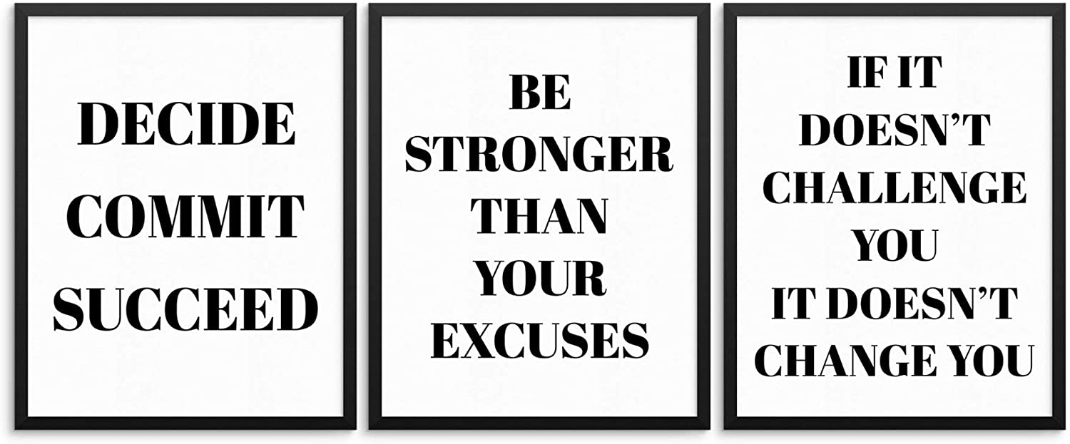 Motivational Gym Quotes Wall Art Print Posters - Be Stronger Than Your Excuses - Decide, Commit, Succeed - If It Doesn't Challenge - 8
