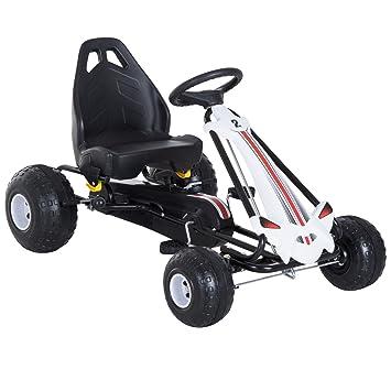 Homcom Coche de Pedales Go Kart Racing Deportivo con Asiento Ajustable Embrague y Freno Juguete Exterior 101.5x65.5x59.5cm Marco Acero Blanco y Negro: ...