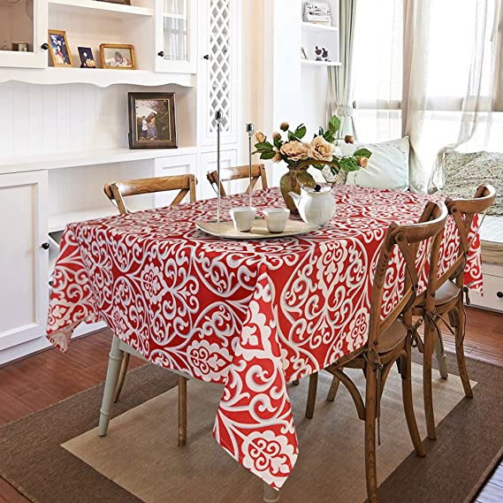 Amazon.com: Gravan Rectangle Polyester Tablecloth Vintage Printed and Spill Proof Table Cover for Home and Kitchen (Red and White, 52x70 Inch): Home & ...