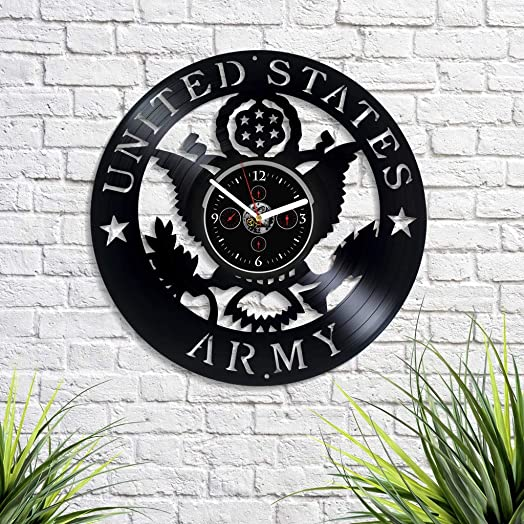 Kovides United States Army Wall Clock Vintage Vinyl Record Retro Wall Clock Large US Army Art for Boyfriend American Army Art Birthday Gift US Army Gift for Husband USA New Year Gift