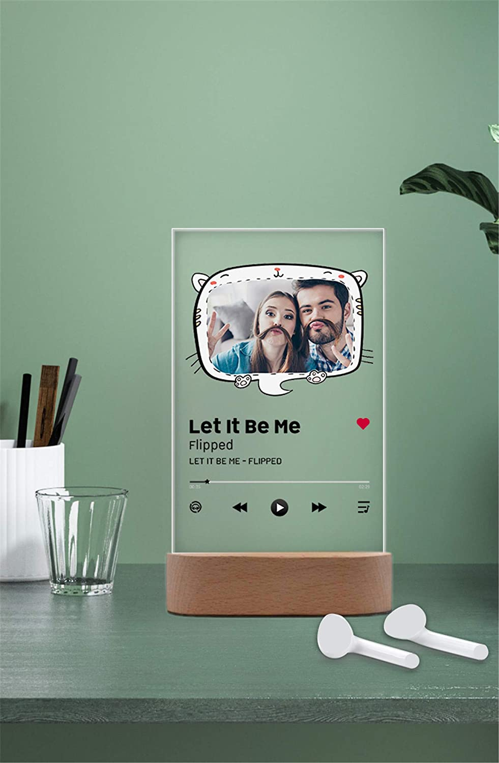 InterestPrint Custom Acrylic Song Plaque with Wooden Stand Personalized Photo Panel Music Sign Gift for Valentine's Day
