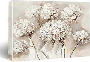 """HIjie White Hydrangea Flowers Framed Canvas Wall Art, Bedroom Wall Decor Farmhouse Flower Canvas Paintings Floral Pictures, Gray Bathroom Home Wall Decorations,11.5"""" X 15"""""""