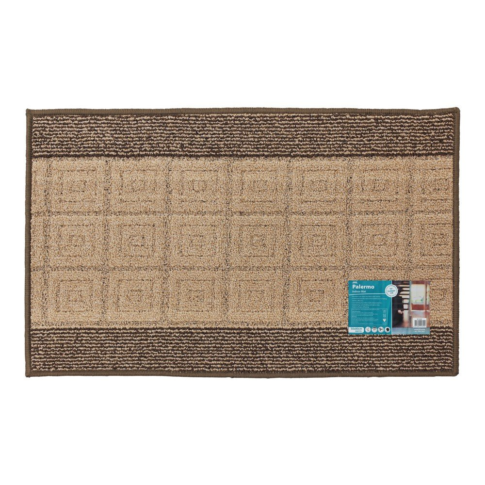 JVL Palmero machine Washable Latex Backed Striped Door Mat - Beige/Black, 50 x 80cm, Beige/ Black 01-622-BE-BK