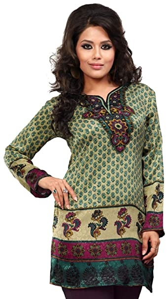 545d6aede4 Indian Tunic Top Womens/Kurti Printed Blouse India Clothing at Amazon Women's  Clothing store: