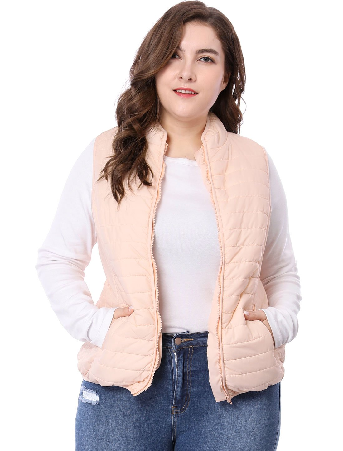 Agnes Orinda Women's Plus Size Stand Collar Zip Up Quilted Padded Vest 3X Pink