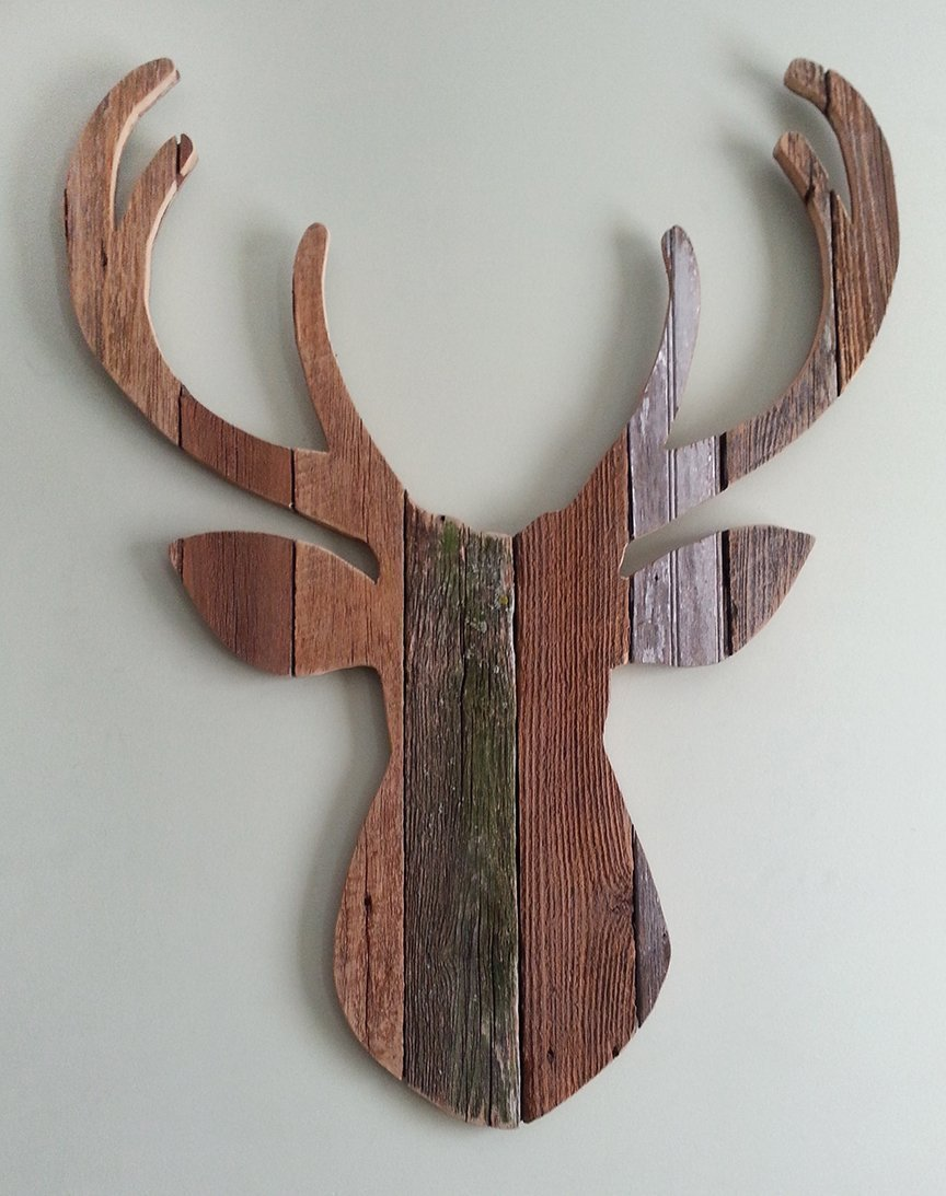 Deer Head silhouette made with reclaimed wood