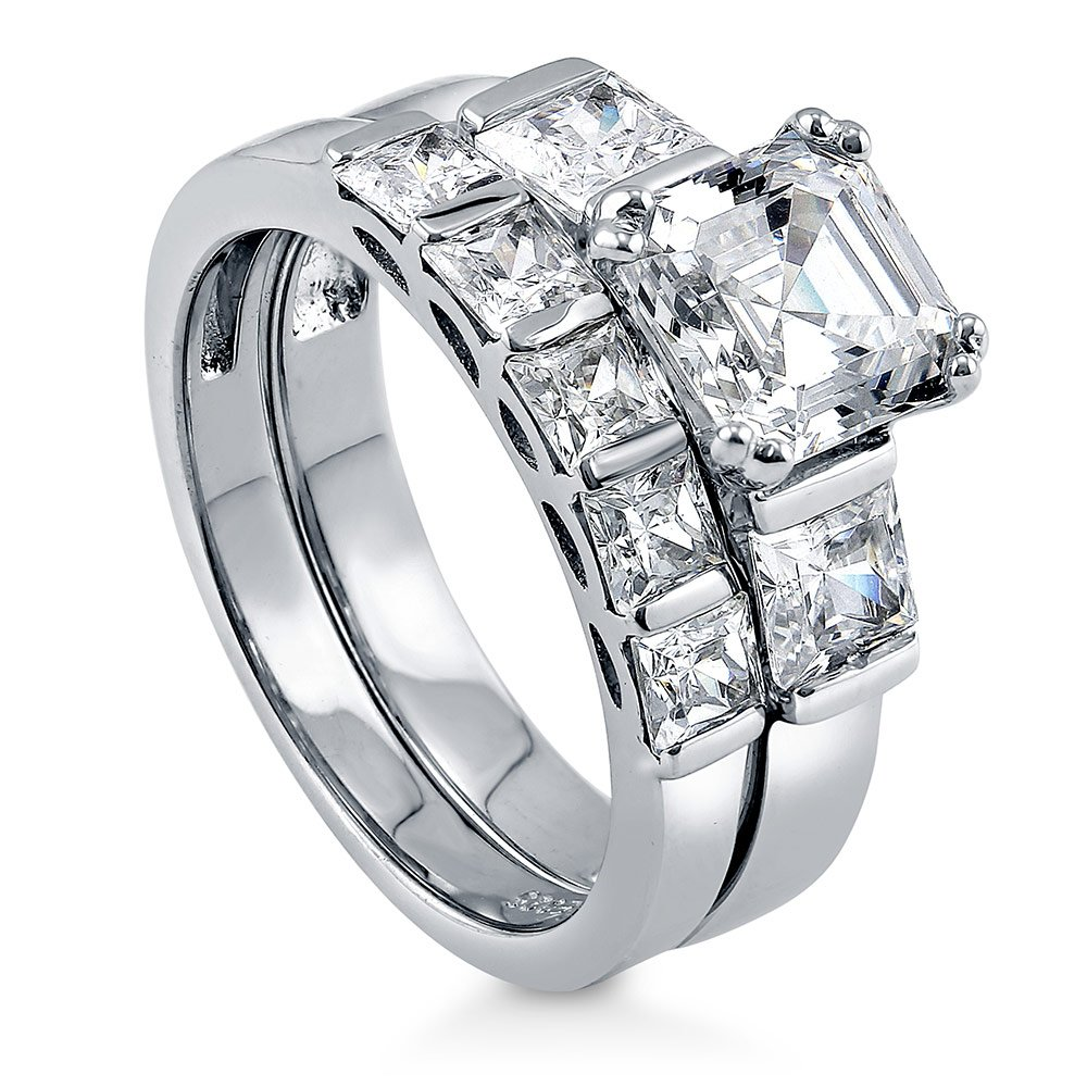BERRICLE Rhodium Plated Sterling Silver Cubic Zirconia CZ 3-Stone 5-Stone Engagement Ring Set Size 8