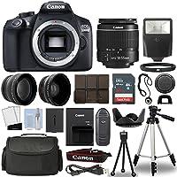 Canon 1300D/Rebel T6 DSLR Camera + 18-55mm 3 Lens Kit + 16GB Top Value Bundle - 2x Telephoto Lens + Wide Angle Lens + 3 Piece Filter Kit + Tripod + Lens Hood + Flash + More! - International Version
