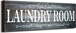 Laundry Room Decor Sign Wooden Rustic Farmhouse Family Laundry Room Wall Sign Wash Dry Fold Repeat Wall Decor Prints for Home Laundry Room, 16 x 6 Inches (Gray)