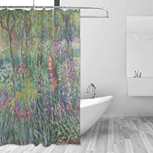 AHOMY Shower Curtain, Monet's Iris Garden at Giverny Waterproof Decoration Bath Curtains Sets with 12 Hooks, 60x72 Inches