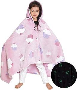 NOBOSHU Wearable Hoodie Blanket Throw Glow in The Dark Fleece Super Soft and Light Weight for Kids (Pink)