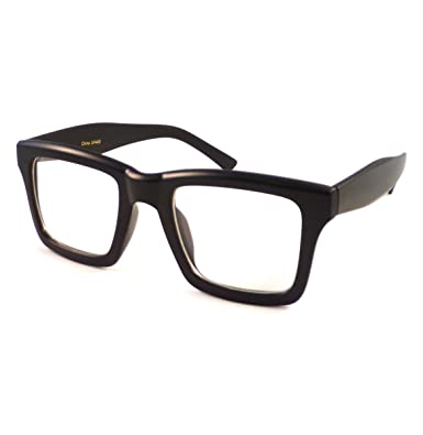 vintage retro square frame fashion clear lens eye glasses black matte