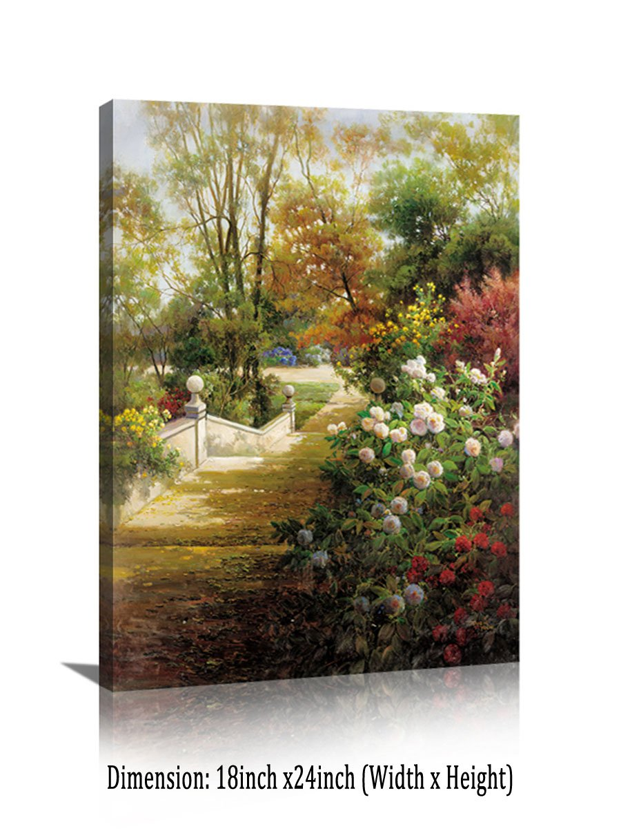 YPY Vintage Flower Canvas Wall Art Colorful Butterfly Garden Scenery Landscape oil Painting Prints for Rest Room Decoration (D, 18x24in)