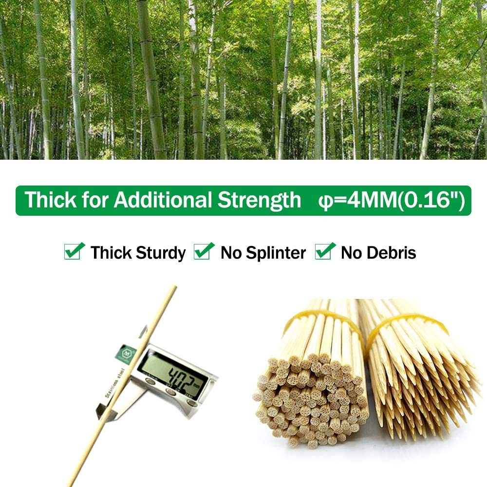 """Bamboo Skewers 10"""" Natural Roasting Skewers Sticks for BBQ Grilling, Chocolate Fountain, Barbecue, Appetiser, Crafting, Party, Marshmallow Roasting or Fruit Sticks, Φ= 4mm, Size 8""""10""""12""""14""""16"""" (110PCS) : Garden & Outdoor"""